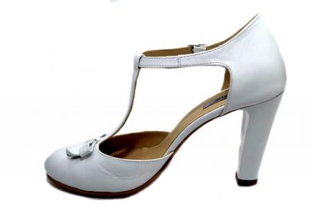 Pantofi Dama Piele Naturala Albi Rebecca D012931