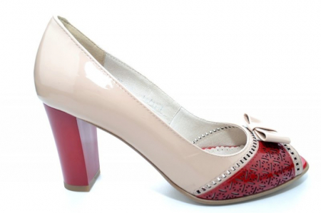 Pantofi cu toc Piele Naturala Bej Roberta D011700