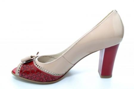 Pantofi cu toc Piele Naturala Bej Roberta D011701