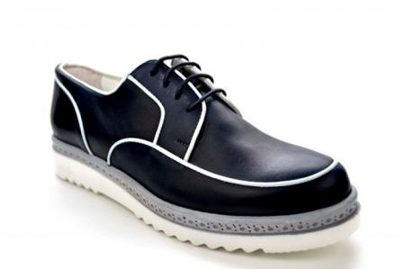 Pantofi Casual Piele Naturala Bleumarin Prego Roma D01143 [4]