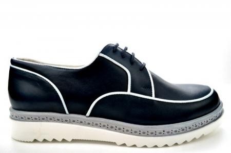 Pantofi Casual Piele Naturala Bleumarin Prego Roma D01143 [0]