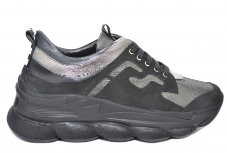 Pantofi Casual Piele Naturala Negri Silviana D020800