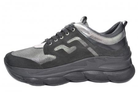 Pantofi Casual Piele Naturala Negri Silviana D020801