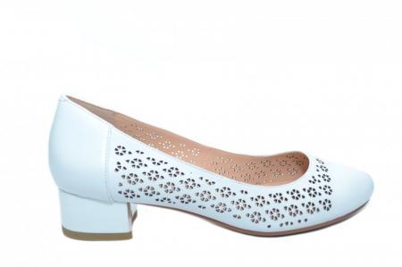 Pantofi cu toc Piele Naturala Albi Epica Tamara D018640