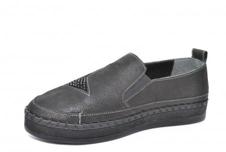 Pantofi Casual Piele Naturala Negri Tereza D02081 [2]