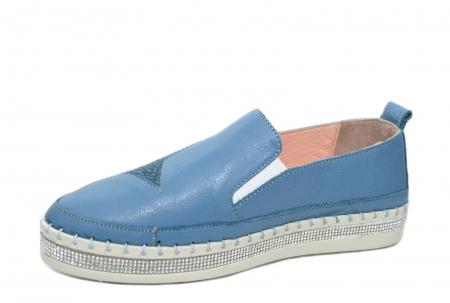 Pantofi Casual Piele Naturala Albastri Tereza D020822