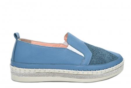 Pantofi Casual Piele Naturala Albastri Tereza D020820