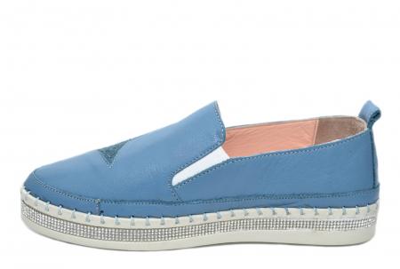 Pantofi Casual Piele Naturala Albastri Tereza D020821