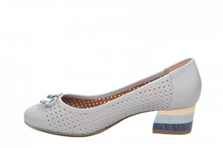 Pantofi cu toc Piele Naturala Gri Epica Thaisa D018631