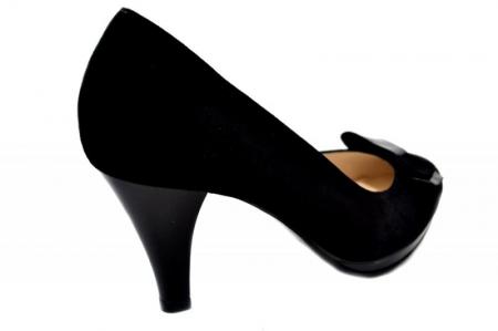 Pantofi cu toc Piele Naturala Negri Yolanda D013343