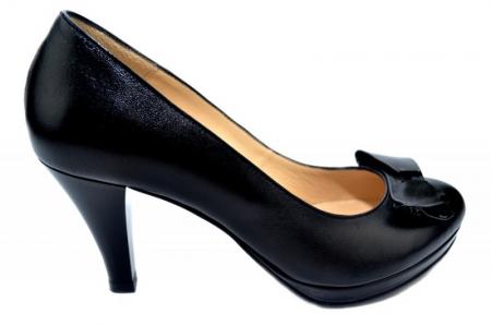 Pantofi cu toc Piele Naturala Negri Yolanda D013350