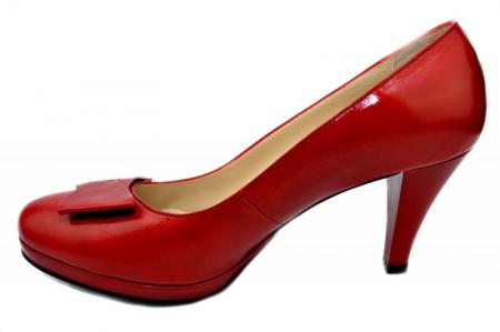 Pantofi cu toc Piele Naturala Rosii Yolanda D01336 [3]