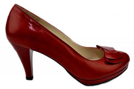 Pantofi cu toc Piele Naturala Rosii Yolanda D01336 [0]