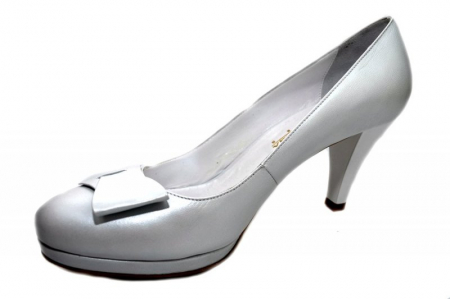Pantofi cu toc Piele Naturala Albi Yolanda D013372