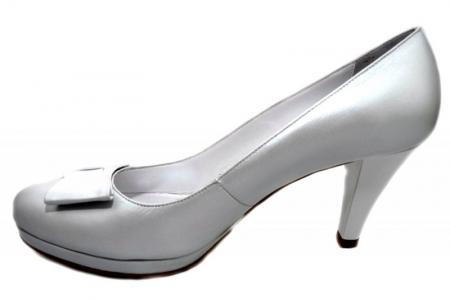 Pantofi cu toc Piele Naturala Albi Yolanda D013371