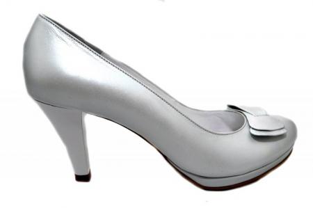 Pantofi cu toc Piele Naturala Albi Yolanda D013370