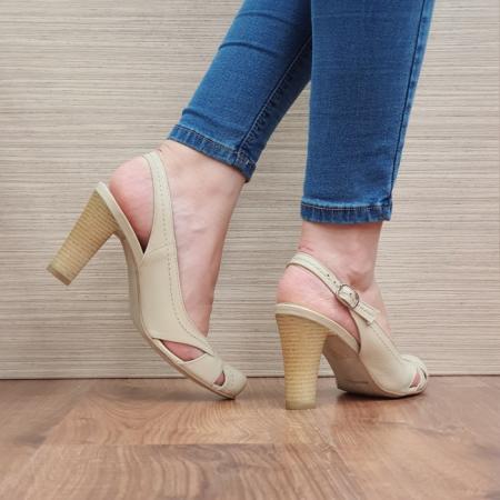 Pantofi Dama Piele Naturala Corvaris Bej Ava D023853