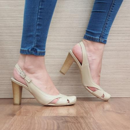 Pantofi Dama Piele Naturala Corvaris Bej Ava D023850