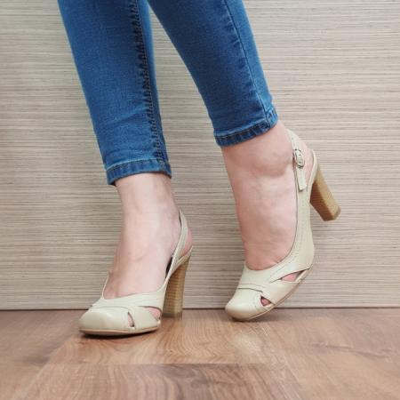 Pantofi Dama Piele Naturala Corvaris Bej Ava D023852
