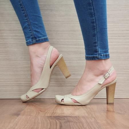 Pantofi Dama Piele Naturala Corvaris Bej Ava D023851