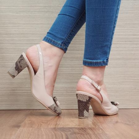 Pantofi Dama Piele Naturala Corvaris Bej Penelope D023863