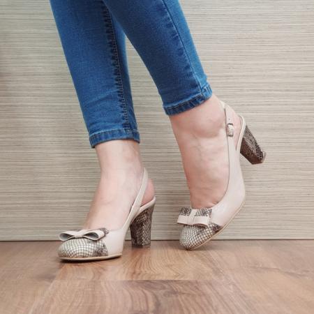 Pantofi Dama Piele Naturala Corvaris Bej Penelope D023862