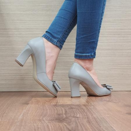 Pantofi Dana Piele Naturala Corvaris Gri Kelsey D024983