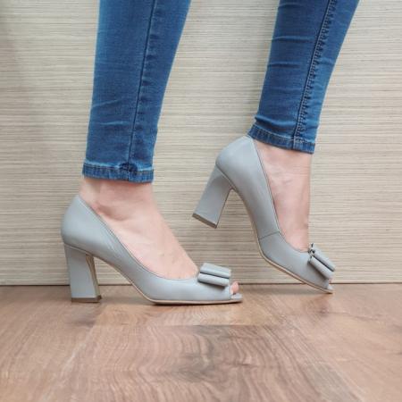 Pantofi Dana Piele Naturala Corvaris Gri Kelsey D024980