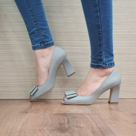 Pantofi Dana Piele Naturala Corvaris Gri Kelsey D024981
