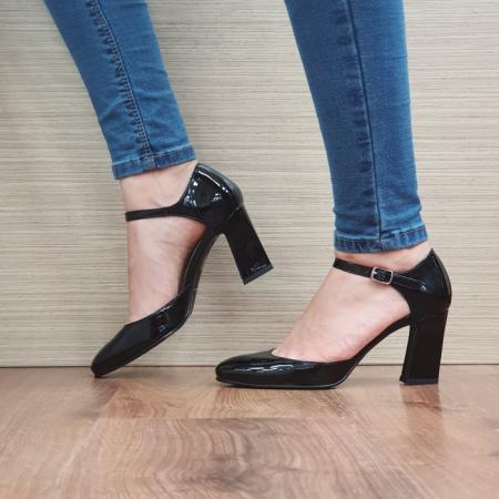 Pantofi Dama Piele Naturala Corvaris Negru Timea D024971