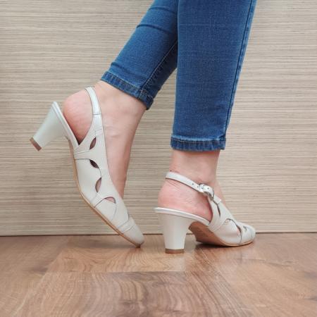 Pantofi Dama Piele Naturala Crem Adrina D023833