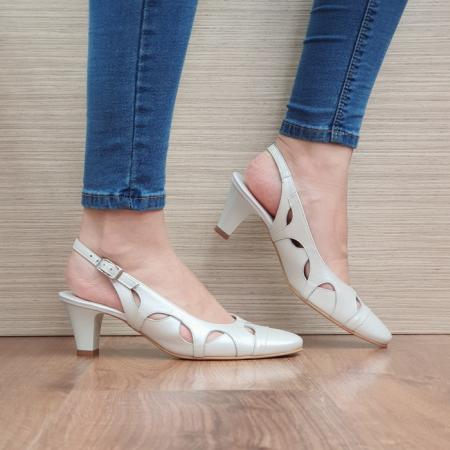 Pantofi Dama Piele Naturala Crem Adrina D023830