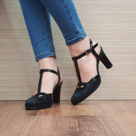 Pantofi Dama Piele Naturala Negri Sonia D023812