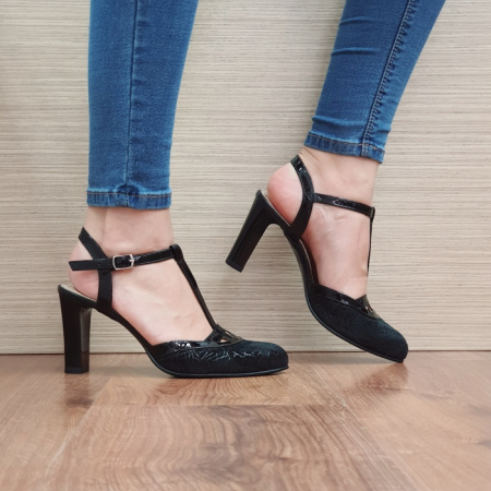 Pantofi Dama Piele Naturala Negri Sonia D023810