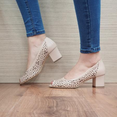 Pantofi Dama Piele Naturala Nude Dona D024521