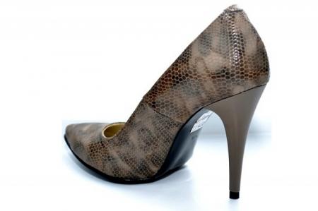 Pantofi cu toc Piele Naturala Maro Barbara D010884
