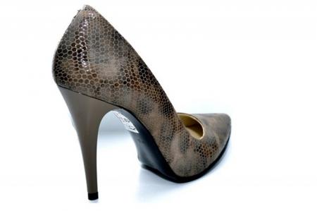Pantofi cu toc Piele Naturala Maro Barbara D010885