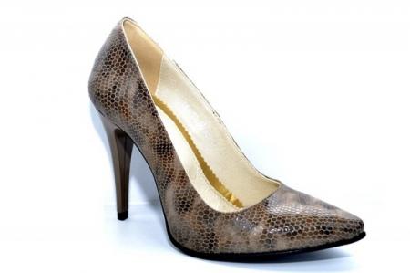 Pantofi cu toc Piele Naturala Maro Barbara D010883
