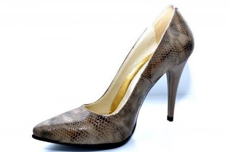Pantofi cu toc Piele Naturala Maro Barbara D010882