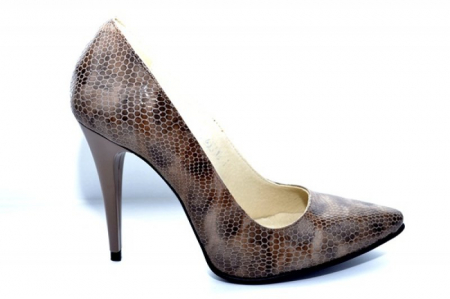 Pantofi cu toc Piele Naturala Maro Barbara D010880