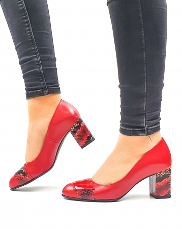 Pantofi cu toc Piele Naturala Rosii Moda Prosper Hemilly D026341