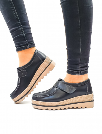 Pantofi Casual Piele Naturala Negri Cynzia D026370