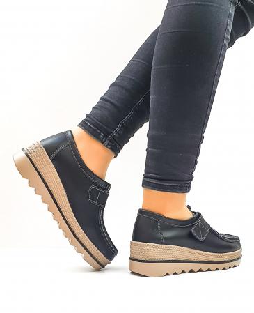 Pantofi Casual Piele Naturala Negri Cynzia D026373