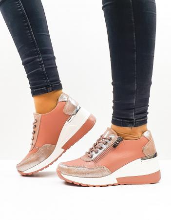Pantofi Casual Dama Piele Naturala Roz Koorine D026380