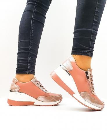 Pantofi Casual Dama Piele Naturala Roz Koorine D026381