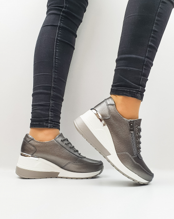Pantofi Casual Dama Piele Naturala Gri Koorine D026391