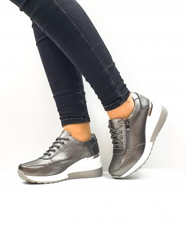 Pantofi Casual Dama Piele Naturala Gri Koorine D026392