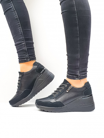 Pantofi Casual Piele Naturala Negri Koorine D026410