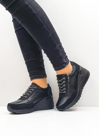 Pantofi Casual Piele Naturala Negri Koorine D026412