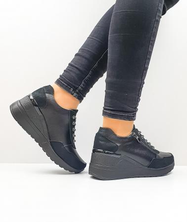 Pantofi Casual Piele Naturala Negri Koorine D026413